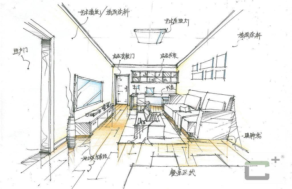 设计师手绘集vic装修效果图,室内设计效果图-齐家装修