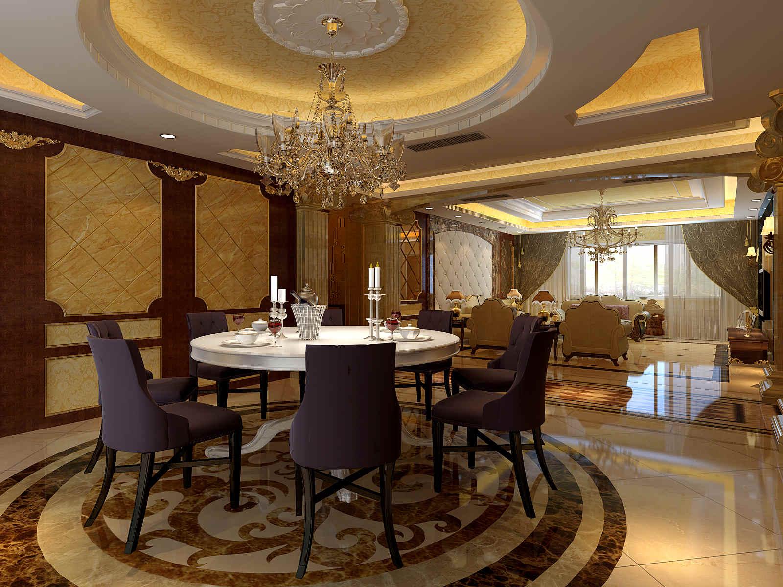 130m2三房欧式半包8.6装修效果图,室内设计效果图