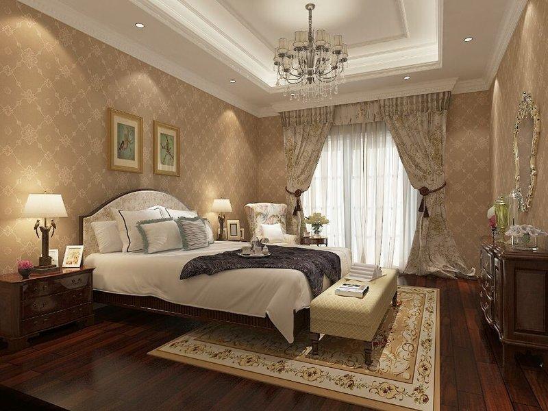 10-15万90平米美式三居室装修效果图,燕语花园 美式图图片