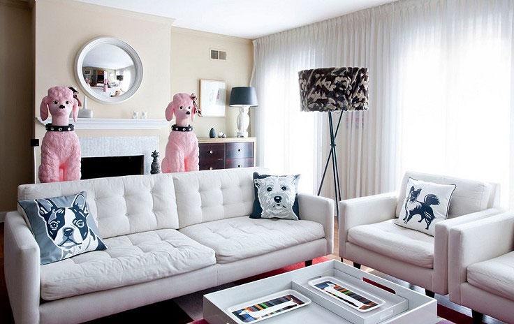 簡單色系拼湊出簡約客廳