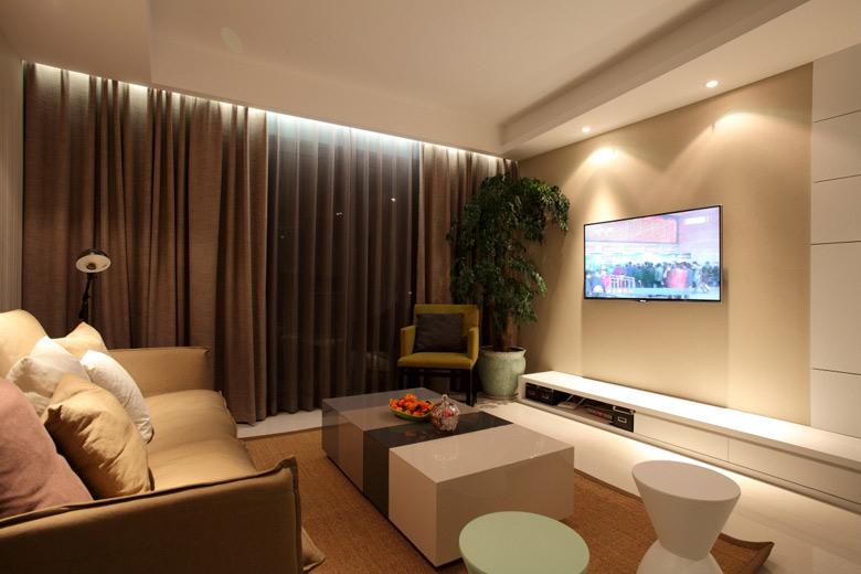 现代简约风格三居室温馨电视背景墙设计图纸