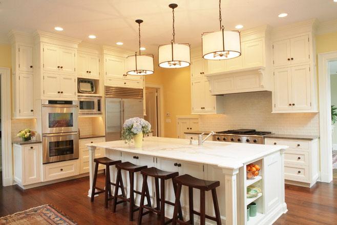 中式风格大气白色厨房吧台设计图片