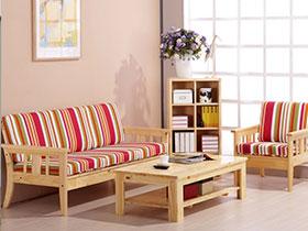 紅色實木框架布藝沙發10圖展示