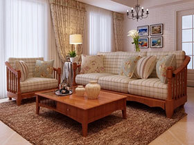 米色实木框架布艺沙发7图展示