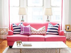 糖果色的客厅布艺沙发 甜蜜蜜