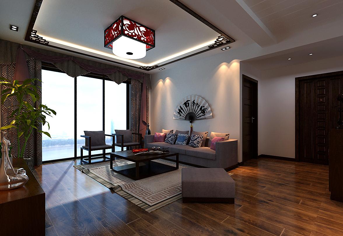 三房两厅 中式风格装修效果图,室内设计效果图-齐家