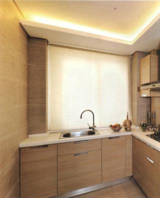 简约风格简洁原木色厨房橱柜安装图