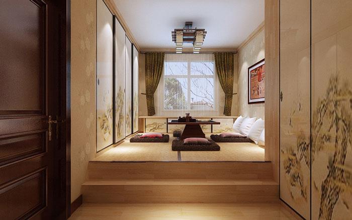 日式榻榻米卧室模型_日式装修设计卧室榻榻米