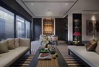 东南亚风格公寓稳重黑白客厅沙发效果图