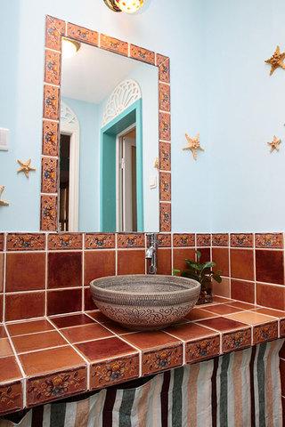 地中海风格浪漫橙色洗手台效果图