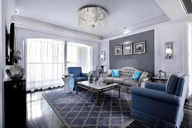 新古典风格三居室舒适130平米沙发背景墙装修效果图