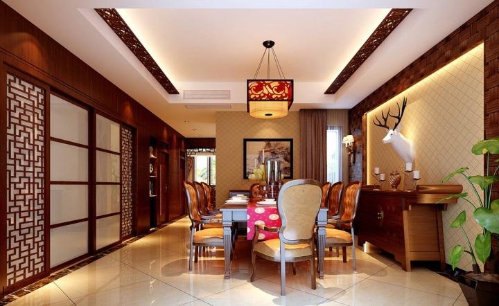 中式风格大气餐厅装潢