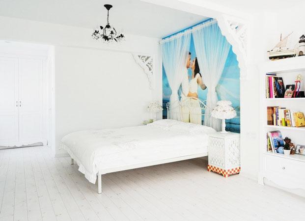 地中海风格,卧室,小清新,床