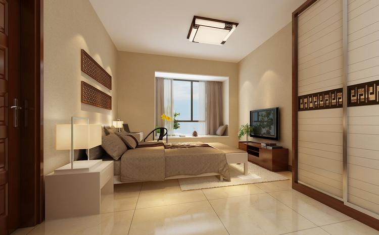 新中式风格 110平 三房装修效果图,室内设计效果图图片
