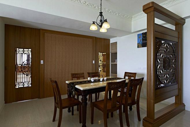 中式风格简洁红色餐桌图片