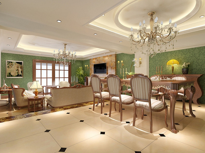 北欧风格卧室小清新原木色吊顶餐厅装修图片
