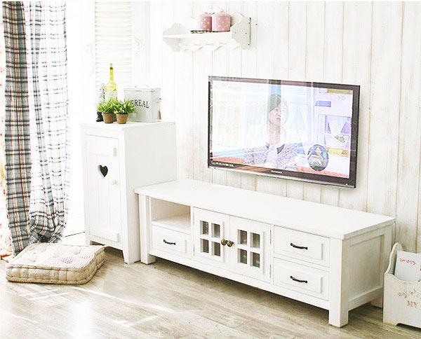简洁白色电视柜图片