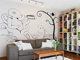 16个简约手绘墙设计 打造个性家居
