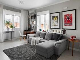 灰白色調混搭 緊湊單身公寓效果圖