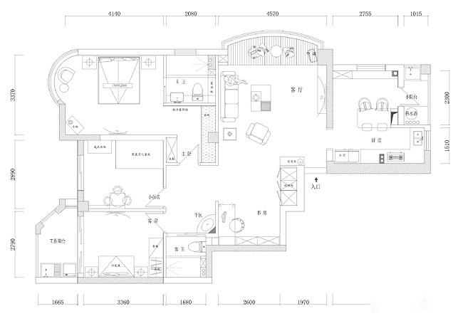 美式风格二居室温馨户型图