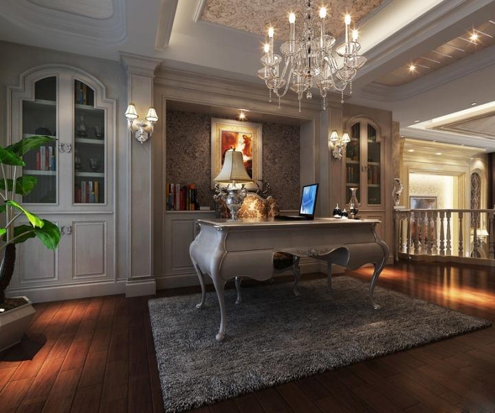 欧式风格白色书桌效果图