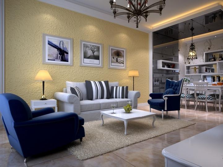 欧式风格奢华黄色沙发背景墙装修效果图