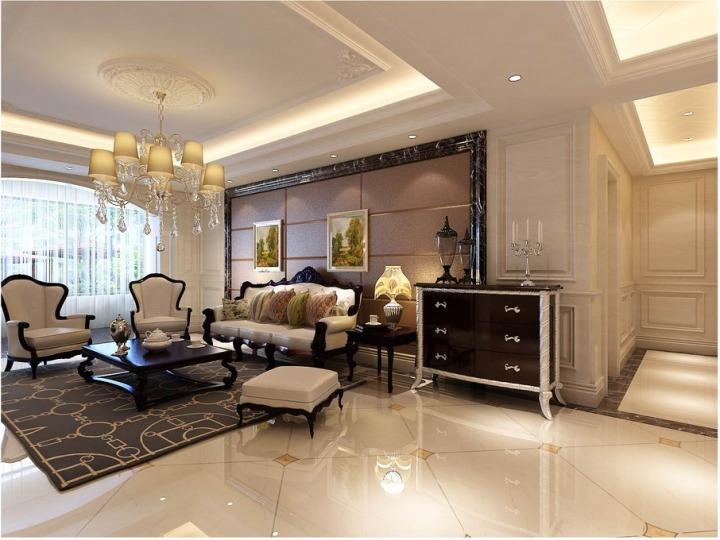 欧式风格奢华粉色沙发背景墙装修图片