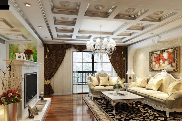 欧式风格奢华黄色沙发背景墙设计图