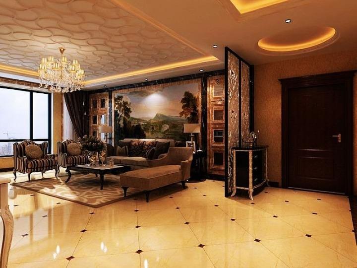 欧式风格奢华沙发背景墙设计图纸