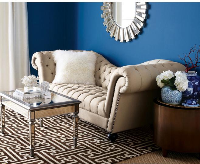 欧式风格蓝色沙发背景墙设计图纸