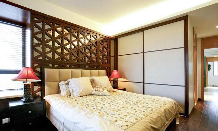 中式风格格子床头软包装修效果图