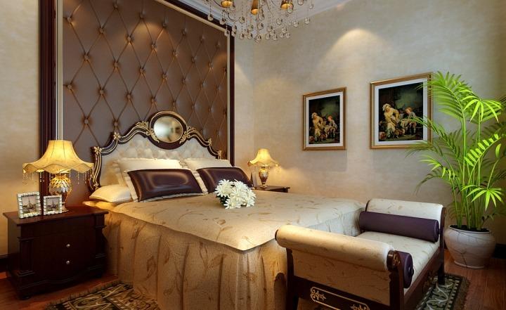 法式新古典卧室 软包背景墙效果图_装修百科图片