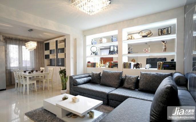 时尚黑白搭配色系客厅装修效果图