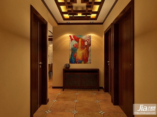暖色调中式门廊装修效果图高清图片