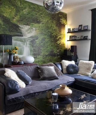 小户型客厅沙发山水画背景墙装修效果图装修图片