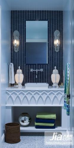 70㎡小户型蓝色复古的卧室装修效果装修图片