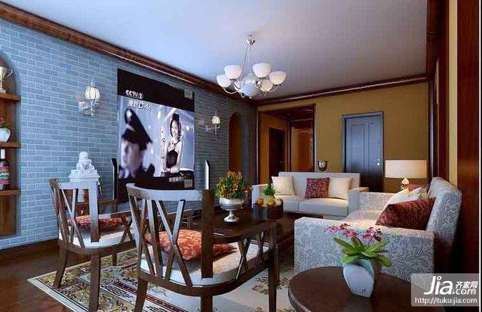 7万装127平中式混搭3居室装修效果图