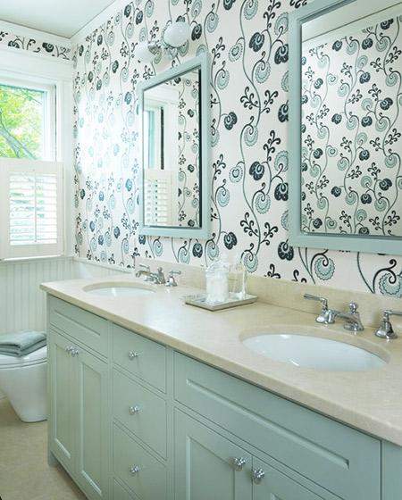 绿色卫生间壁纸效果图