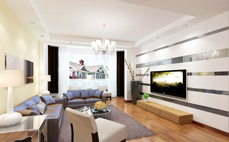 现代简约风格简洁现代简约电视背景墙设计