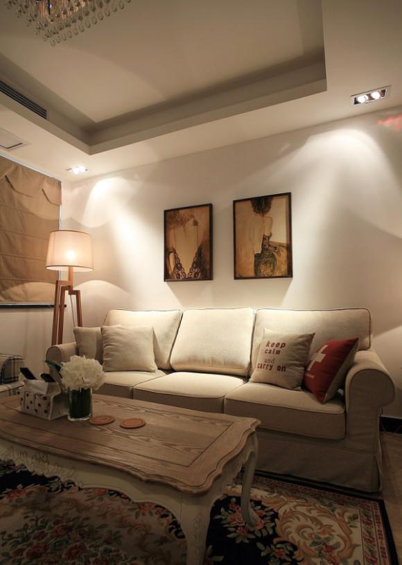 美式风格白色沙发背景墙效果图