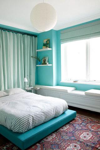 美式风格蓝色卧室背景墙装修效果图