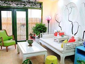 17款清新沙发背景墙设计图 打造田园风客厅