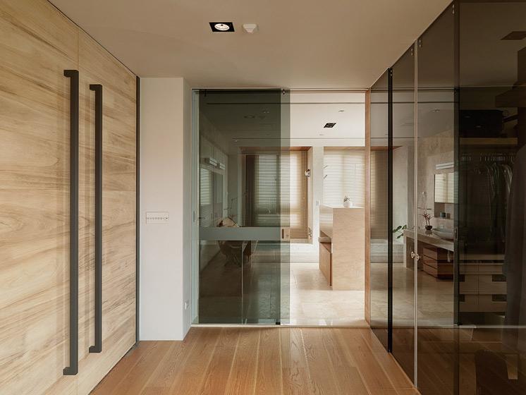 现代简约风格3层别墅原木色家居工作区客厅过道吊顶设计图