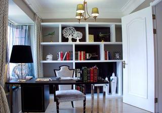 美式风格二居室时尚冷色调书房装潢