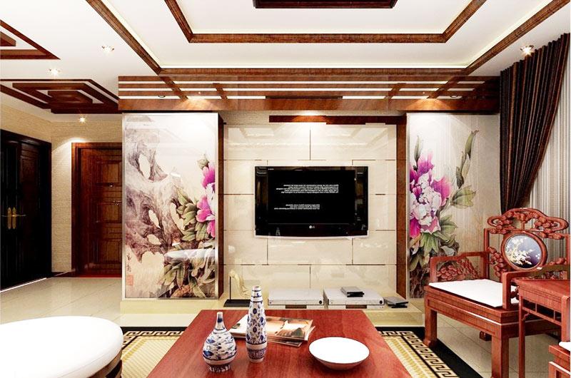 中式风格大气电视背景墙效果图