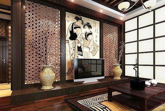 中式风格大气电视背景墙装修效果图