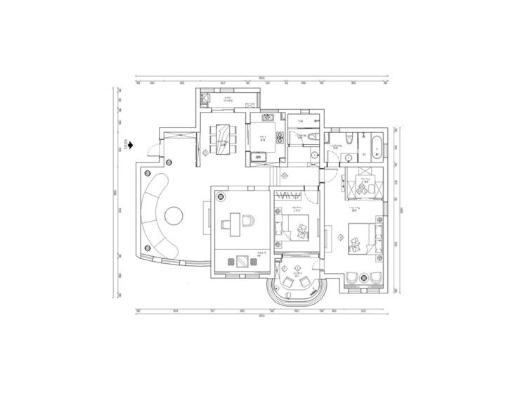 欧式风格奢华130平米婚房户型图