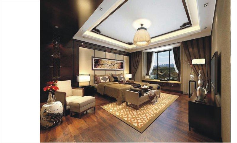 10万90平米中式装修效果图,章先生居家装修案例效果图 齐家装修网高清图片
