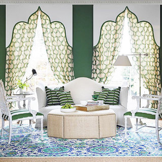 简欧风格绿色窗帘效果图
