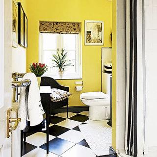 简洁黑白卫生间瓷砖效果图